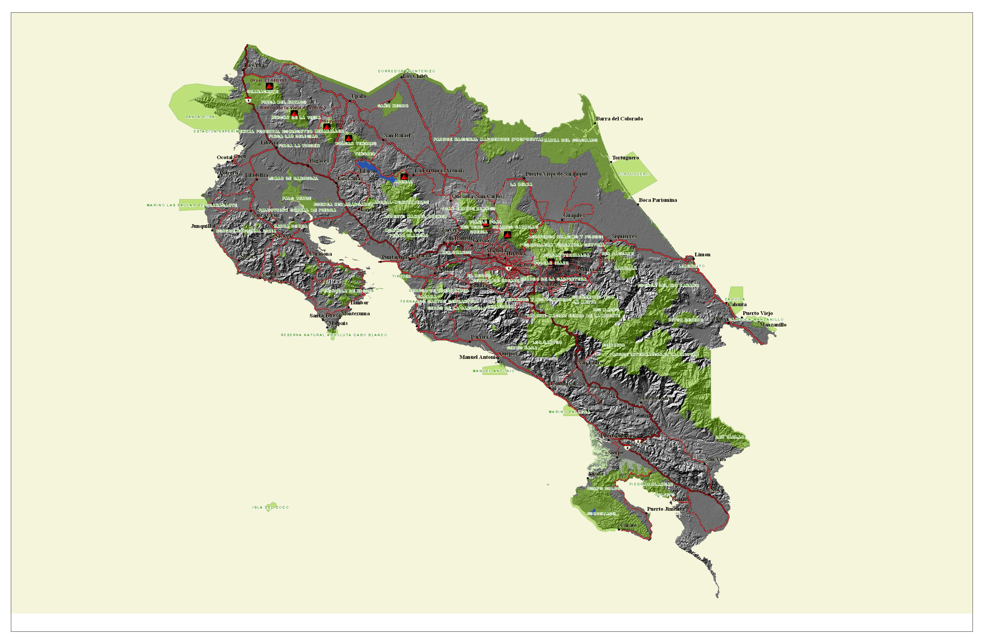 Costa Rica Population Density Map%0A     Orography and National Parks Map of Costa Rica