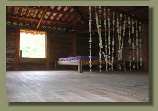 the second floor bedroom of this house in a forest land close to Puerto Jimenez, south Costa Rica
