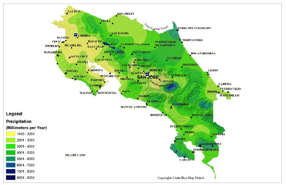 Orography and Yearly Precipitation Map of Costa Rica