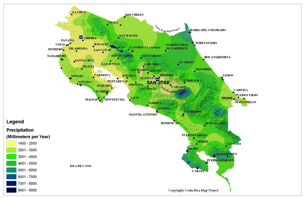 Climate Map Of Costa Rica MAP - County map of costa rica