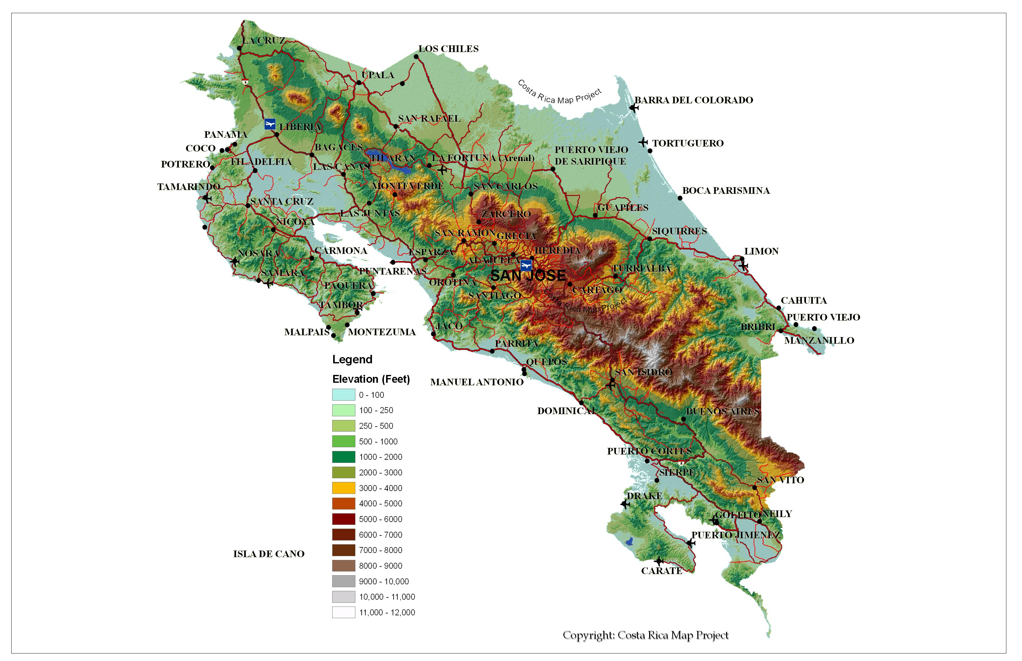 Costa Rica Elevation Map MAP - County map of costa rica
